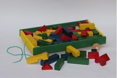 Obrázek z Stavebnice vozík dřevěné kostičky