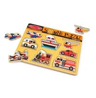 Obrázek Melissa & Doug Dřevěné puzzle se zvukem dopravní prostředky